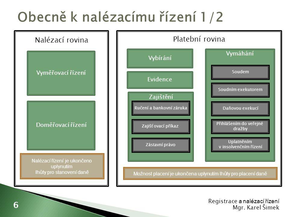 Osnova 1. Zajištění daní 2. Vymáhání daní Placení daní II Mgr. Karel Šimek 27