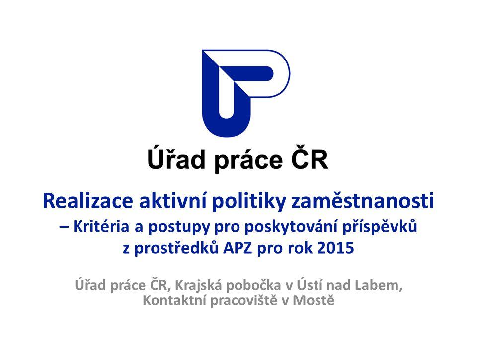 Aktivní politika zaměstnanosti Na základě Směrnice generálního ředitele Úřadu práce ČR č.