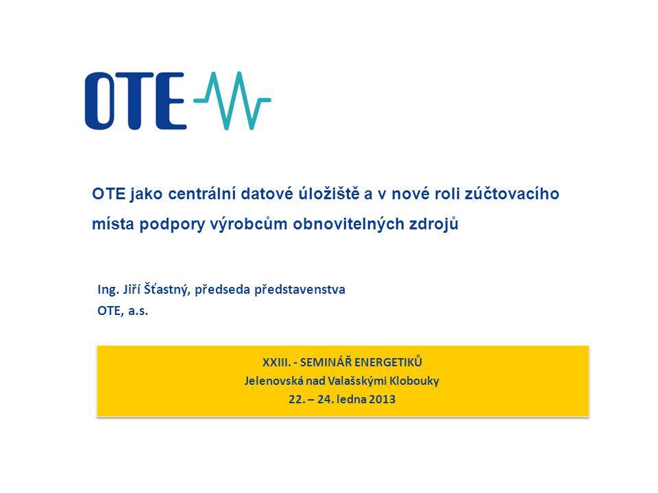 2  OTE jako centrální datové úložiště  OTE jako nové místo výplaty podpory výrobcům z OZE
