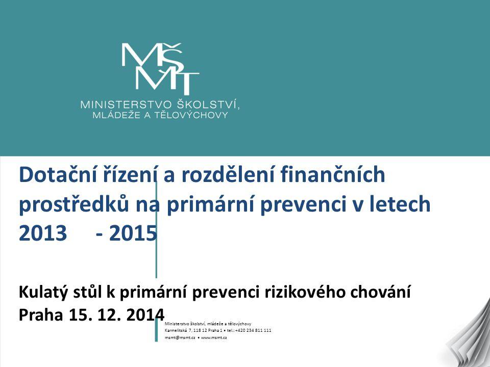 1 Dotační řízení a rozdělení finančních prostředků na primární prevenci v letech 2013 - 2015 Kulatý stůl k primární prevenci rizikového chování Praha 15.
