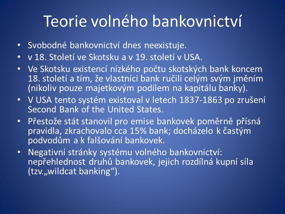 Teorie volného bankovnictví Svobodné bankovnictví dnes neexistuje.