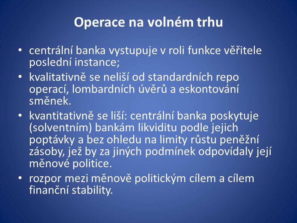Operace na volném trhu centrální banka vystupuje v roli funkce věřitele poslední instance; kvalitativně se neliší od standardních repo operací, lombardních úvěrů a eskontování směnek.