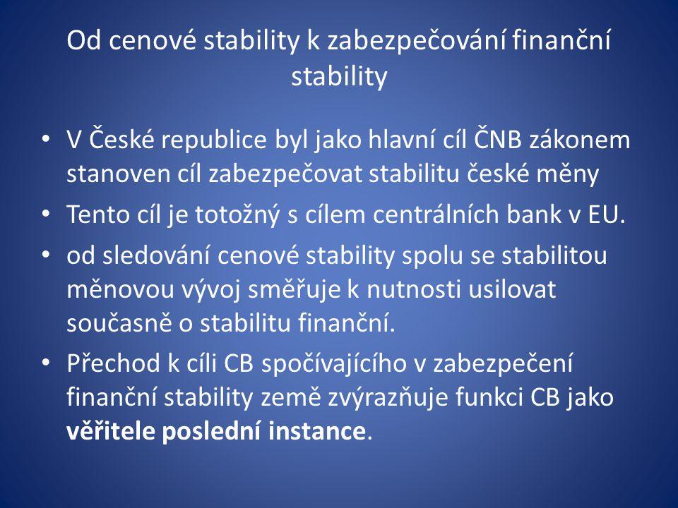 Od cenové stability k zabezpečování finanční stability V České republice byl jako hlavní cíl ČNB zákonem stanoven cíl zabezpečovat stabilitu české měny Tento cíl je totožný s cílem centrálních bank v EU.