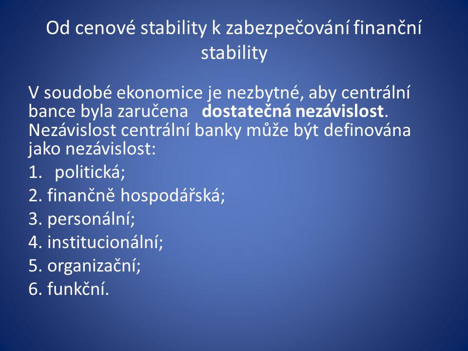 Od cenové stability k zabezpečování finanční stability V soudobé ekonomice je nezbytné, aby centrální bance byla zaručena dostatečná nezávislost.