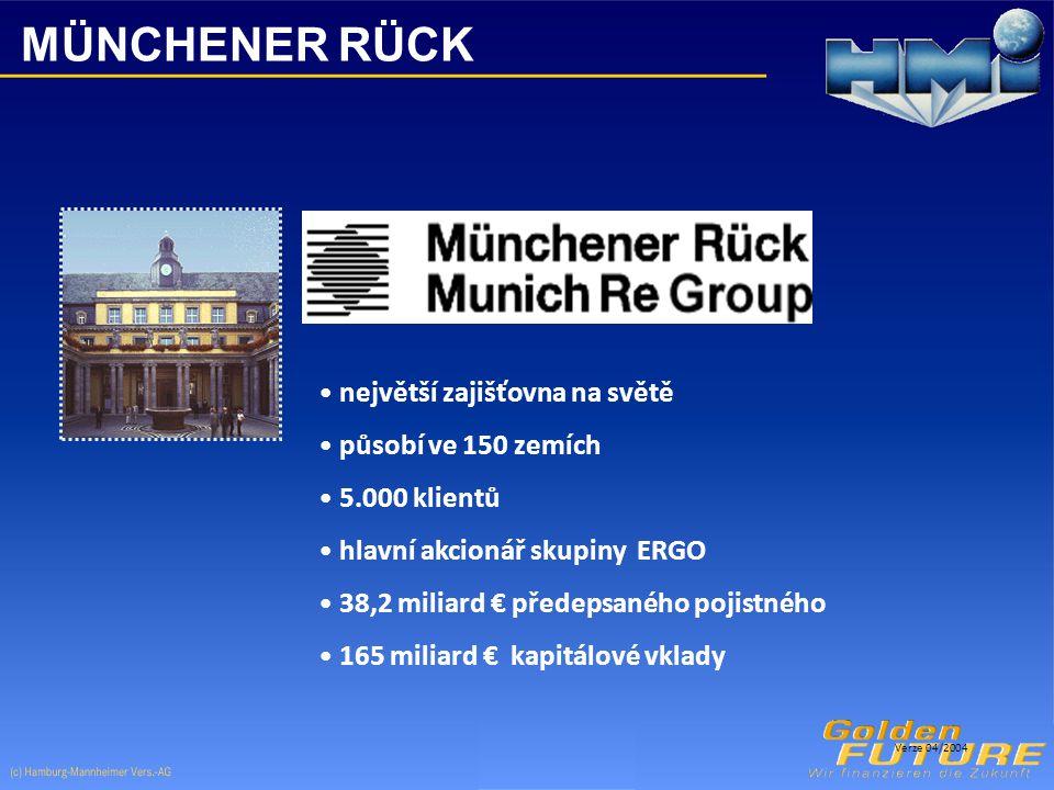 MÜNCHENER RÜCK největší zajišťovna na světě působí ve 150 zemích 5.000 klientů hlavní akcionář skupiny ERGO 38,2 miliard € předepsaného pojistného 165 miliard € kapitálové vklady Verze 04/2004