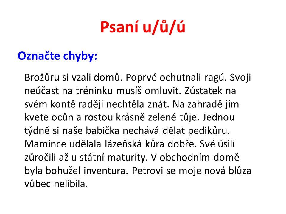Psaní u/ů/ú Řešení: Brožůru si vzali domů.Poprvé ochutnali ragú.