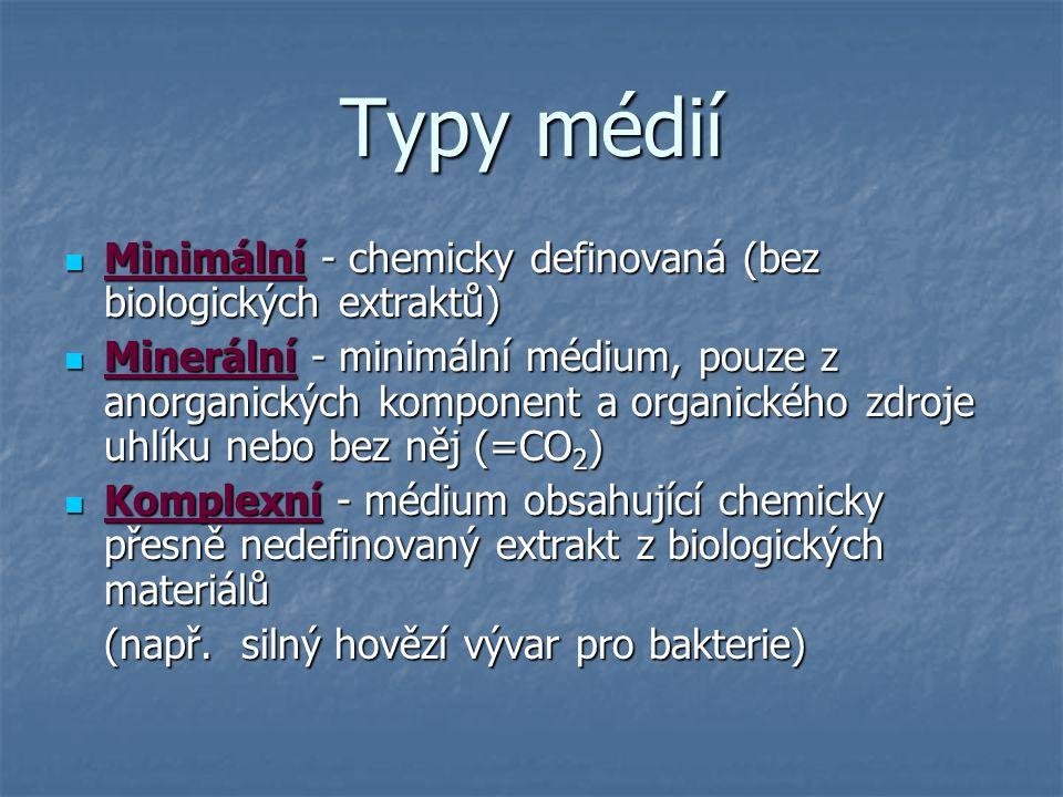 Různé typy očkování na Petriho misky