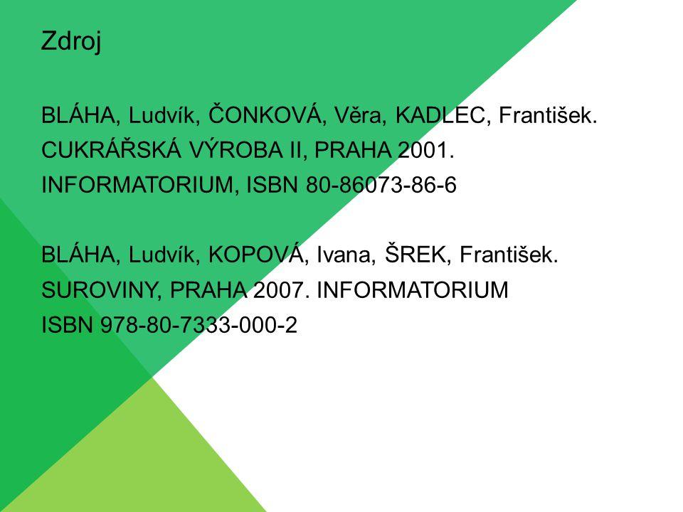 Zdroj BLÁHA, Ludvík, ČONKOVÁ, Věra, KADLEC, František. CUKRÁŘSKÁ VÝROBA II, PRAHA 2001. INFORMATORIUM, ISBN 80-86073-86-6 BLÁHA, Ludvík, KOPOVÁ, Ivana
