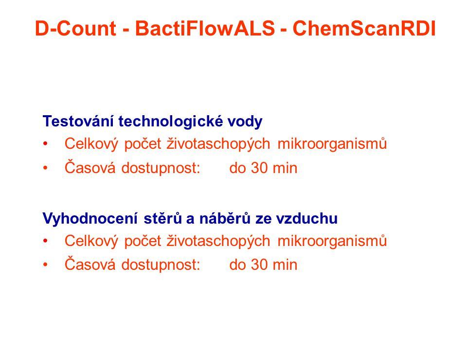 Testování technologické vody Celkový počet životaschopých mikroorganismů Časová dostupnost: do 30 min Vyhodnocení stěrů a náběrů ze vzduchu Celkový po