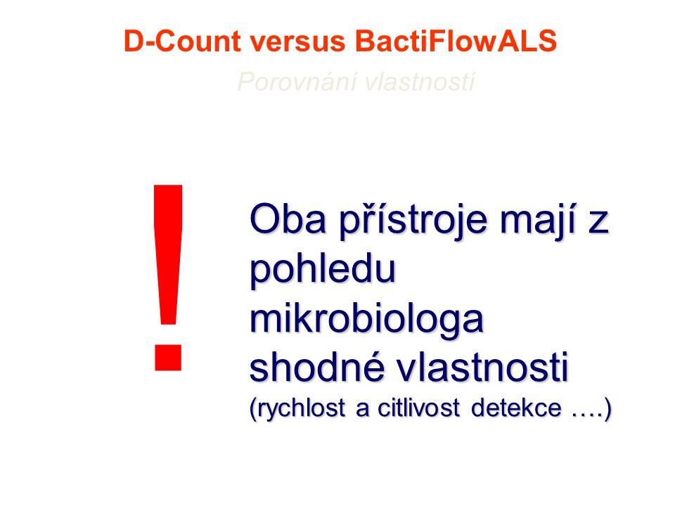 D-Count versus BactiFlowALS Porovnání vlastností Oba přístroje mají z pohledu mikrobiologa shodné vlastnosti (rychlost a citlivost detekce ….) !
