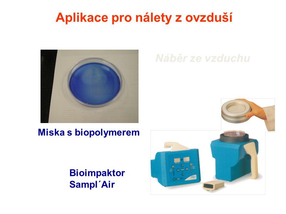 Aplikace pro nálety z ovzduší Náběr ze vzduchu Miska s biopolymerem Bioimpaktor Sampl´Air
