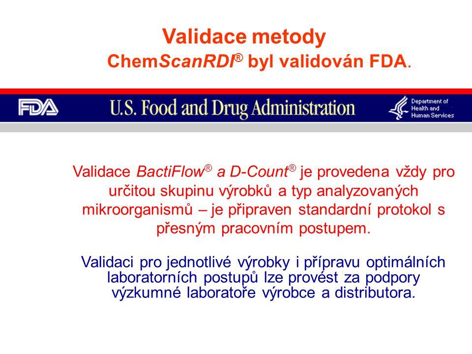 Validace metody ChemScanRDI ® byl validován FDA. Validace BactiFlow ® a D-Count ® je provedena vždy pro určitou skupinu výrobků a typ analyzovaných mi