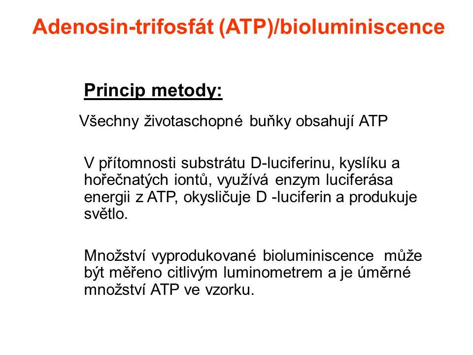 Adenosin-trifosfát (ATP)/bioluminiscence Všechny životaschopné buňky obsahují ATP V přítomnosti substrátu D-luciferinu, kyslíku a hořečnatých iontů, v