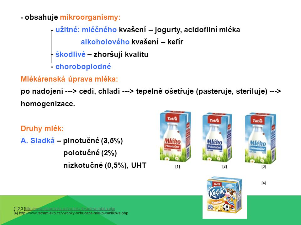 Druhy mlék: B.Kyselá – acidofilní mléko, jogurtové mléko, jogurty, kefíry [1] [2] [3] C.