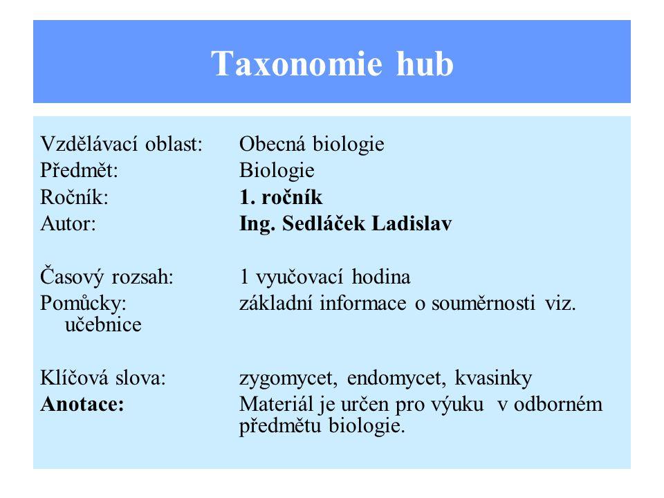 Taxonomie hub Vzdělávací oblast:Obecná biologie Předmět:Biologie Ročník:1. ročník Autor:Ing. Sedláček Ladislav Časový rozsah:1 vyučovací hodina Pomůck