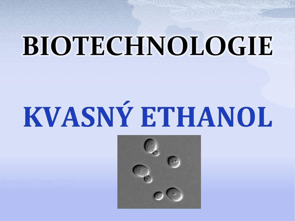 Výroba kvasného ethanolu C 2 H 5 OH použití: surovina pro potravinářský průmysl, základ všech alkoholických nápojů rozpouštědlo v lékařství a farmacií desinfekční prostředek surovina pro chemický průmysl