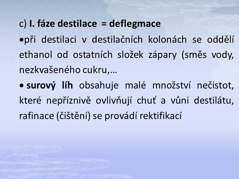 c) I. fáze destilace = deflegmace  při destilaci v destilačních kolonách se oddělí ethanol od ostatních složek zápary (směs vody, nezkvašeného cukru,