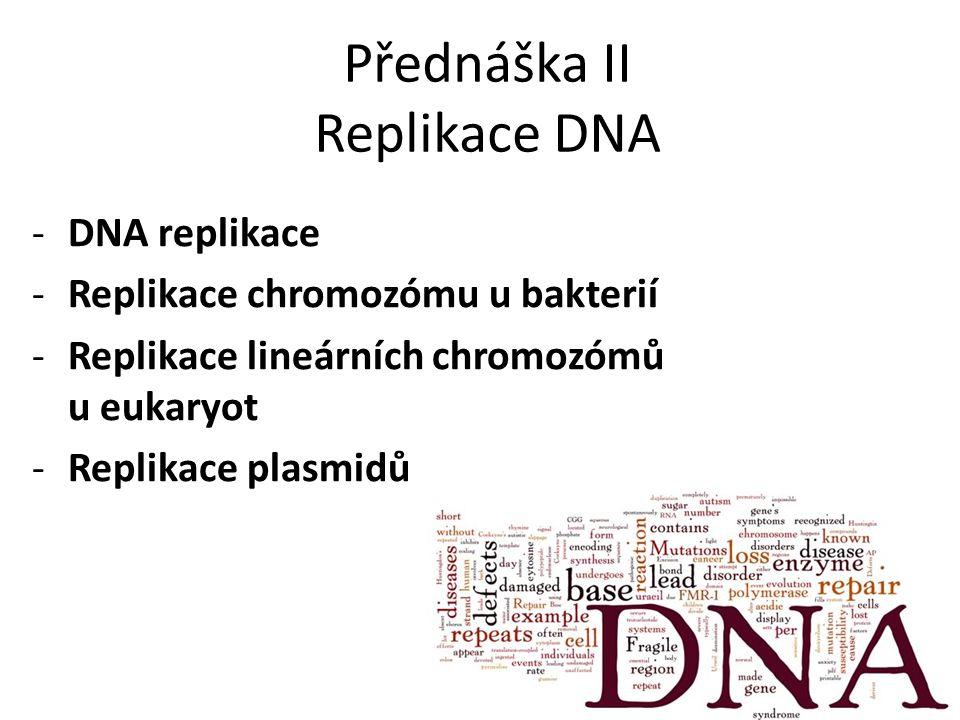 Přednáška II Replikace DNA -DNA replikace -Replikace chromozómu u bakterií -Replikace lineárních chromozómů u eukaryot -Replikace plasmidů