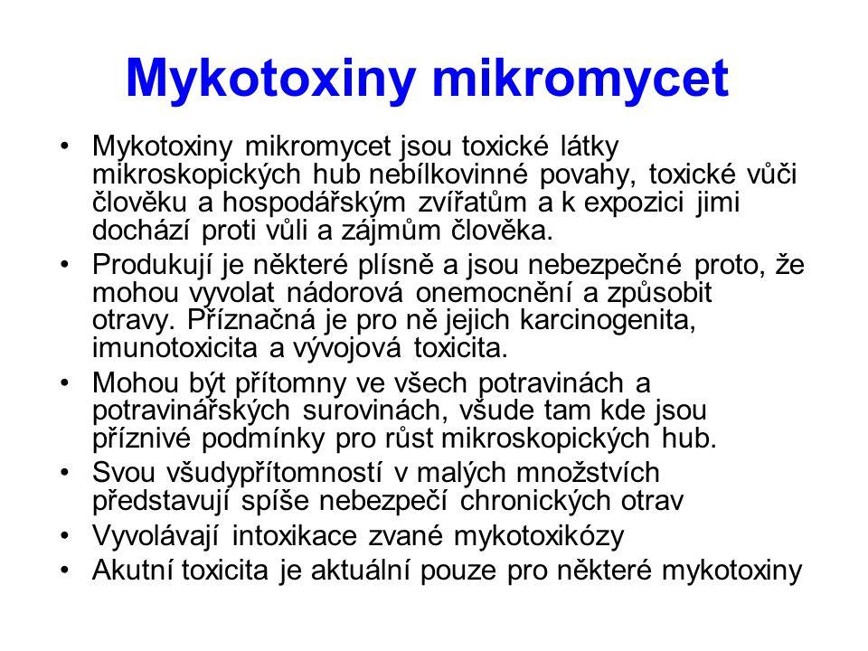 Mykotoxiny mikromycet Mykotoxiny mikromycet jsou toxické látky mikroskopických hub nebílkovinné povahy, toxické vůči člověku a hospodářským zvířatům a