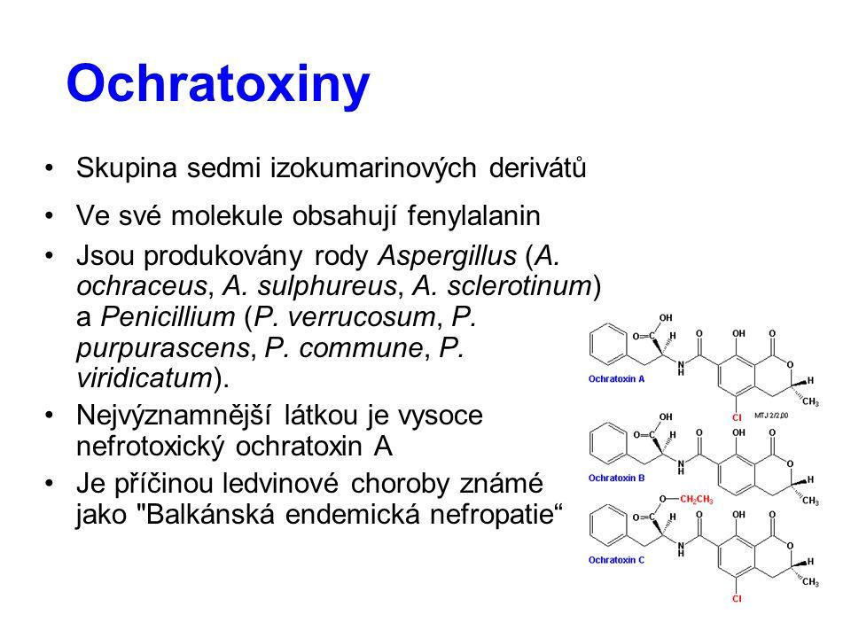 Ochratoxiny Skupina sedmi izokumarinových derivátů Ve své molekule obsahují fenylalanin Jsou produkovány rody Aspergillus (A. ochraceus, A. sulphureus