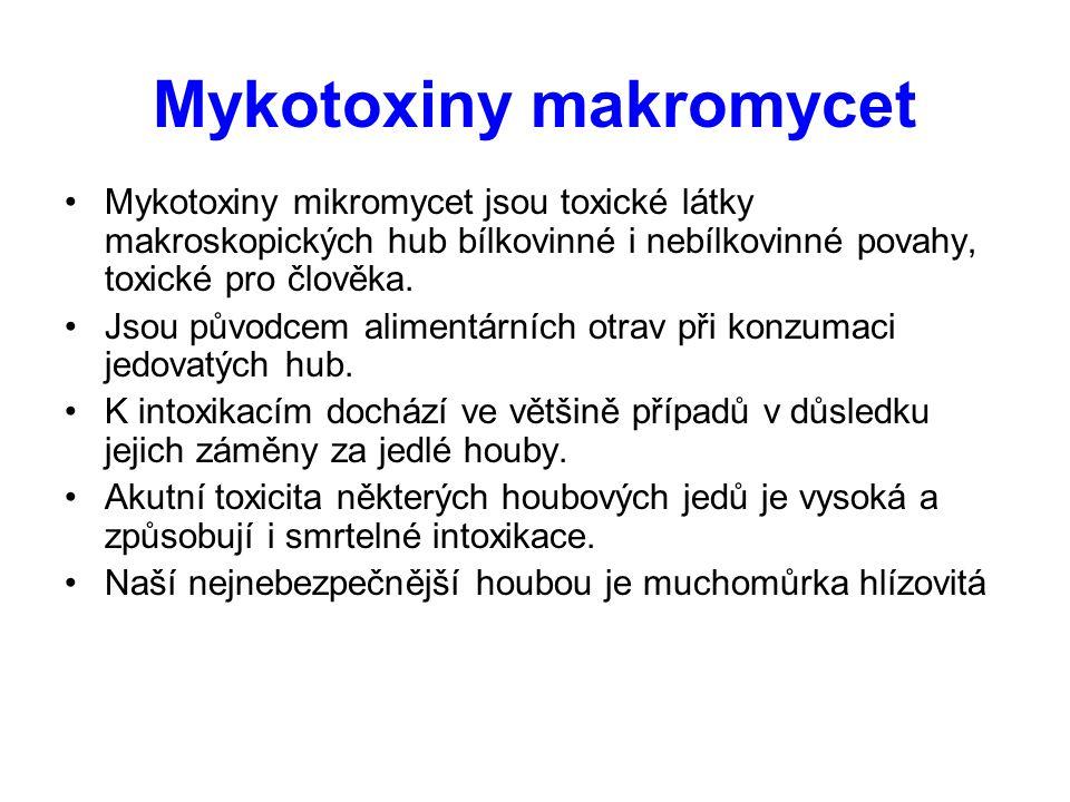 Mykotoxiny makromycet Mykotoxiny mikromycet jsou toxické látky makroskopických hub bílkovinné i nebílkovinné povahy, toxické pro člověka. Jsou původce