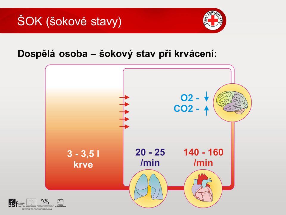 Dospělá osoba – šokový stav při krvácení: ŠOK (šokové stavy)