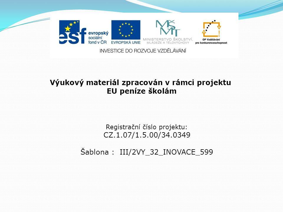Výukový materiál zpracován v rámci projektu EU peníze školám Registrační číslo projektu: CZ.1.07/1.5.00/34.0349 Šablona : III/2VY_32_INOVACE_599