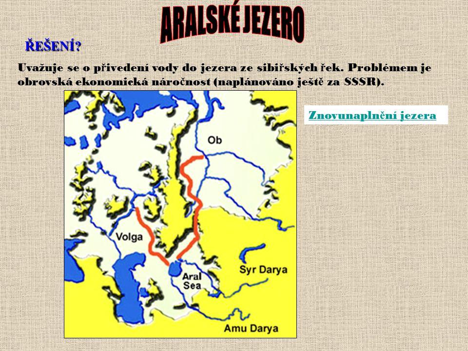 ŘEŠENÍ? Byla ustavena komise OSN, která dohlíží na hospoda ř ení s vodou obou ř ek. Kazaši odd ě lili v roce 1997 12 km dlouhou hrází Malý Aral na sev