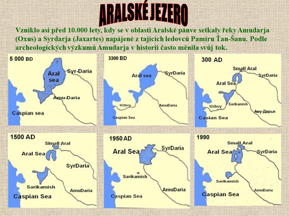Aralské jezero vysychá. Postupné zmenšování plochy jezera je monitorováno od počátku 60. let. Při sledování procesů spojených se zánikem jezerní pánve