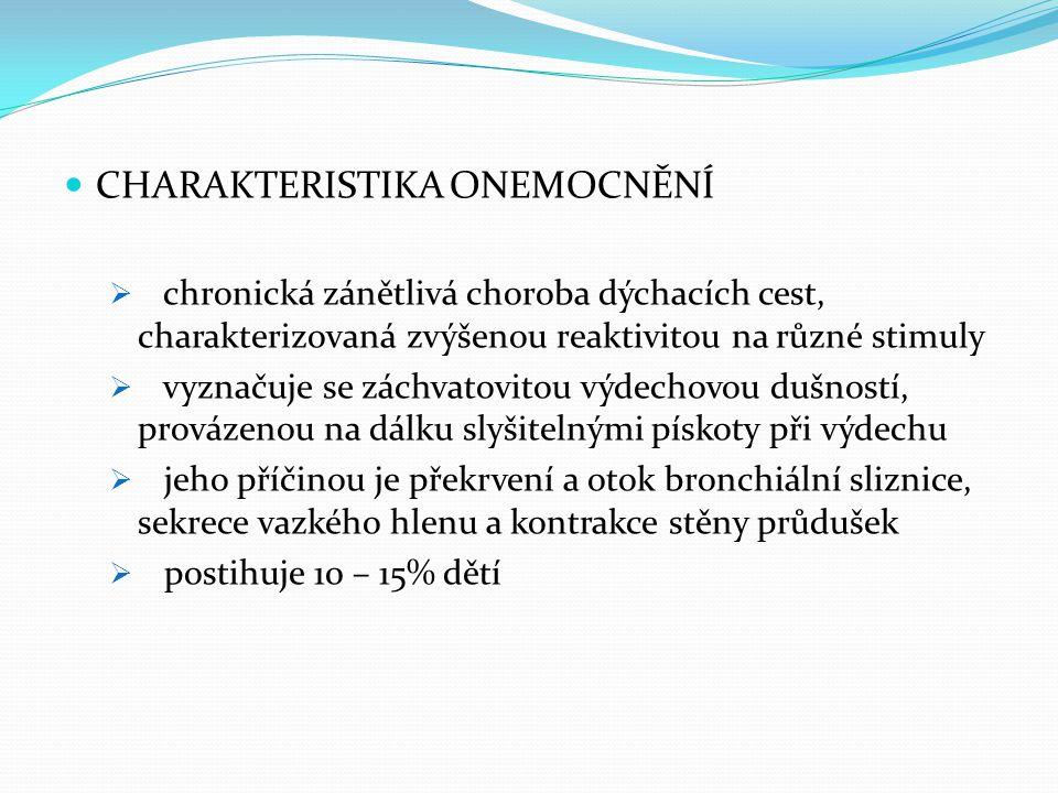 CHARAKTERISTIKA ONEMOCNĚNÍ  chronická zánětlivá choroba dýchacích cest, charakterizovaná zvýšenou reaktivitou na různé stimuly  vyznačuje se záchvat