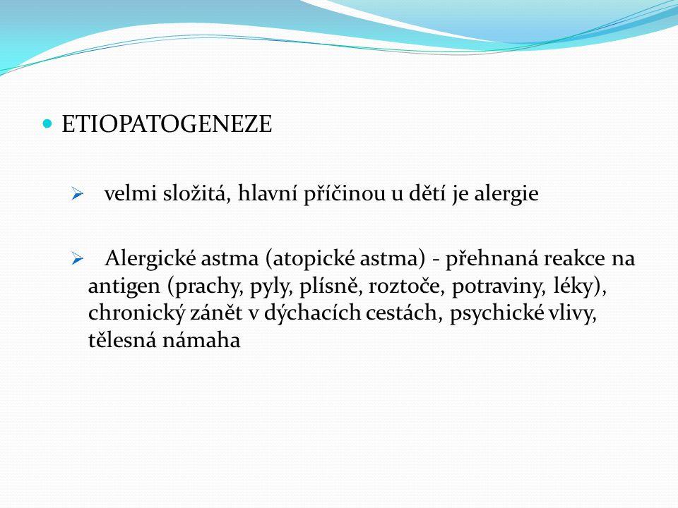 ETIOPATOGENEZE  velmi složitá, hlavní příčinou u dětí je alergie  Alergické astma (atopické astma) - přehnaná reakce na antigen (prachy, pyly, plísn