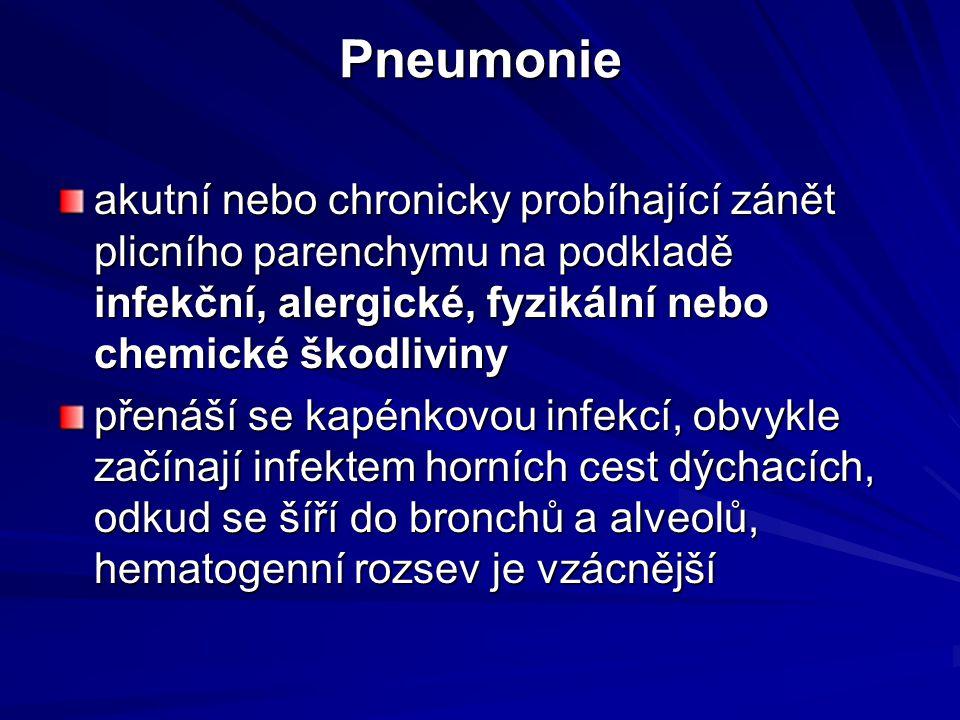Pneumonie akutní nebo chronicky probíhající zánět plicního parenchymu na podkladě infekční, alergické, fyzikální nebo chemické škodliviny přenáší se k