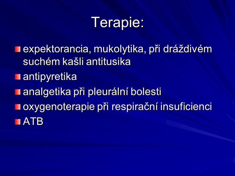 Terapie: expektorancia, mukolytika, při dráždivém suchém kašli antitusika antipyretika analgetika při pleurální bolesti oxygenoterapie při respirační