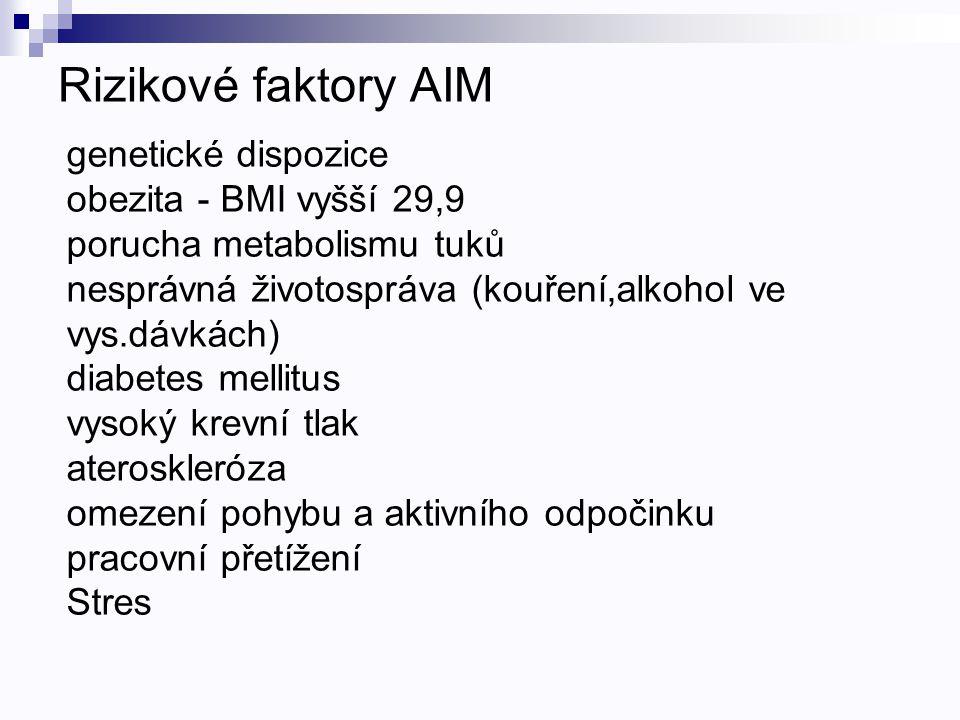 Rizikové faktory AIM genetické dispozice obezita - BMI vyšší 29,9 porucha metabolismu tuků nesprávná životospráva (kouření,alkohol ve vys.dávkách) dia