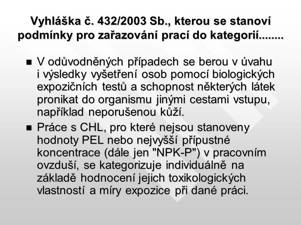 Vyhláška č. 432/2003 Sb., kterou se stanoví podmínky pro zařazování prací do kategorií........ V odůvodněných případech se berou v úvahu i výsledky vy