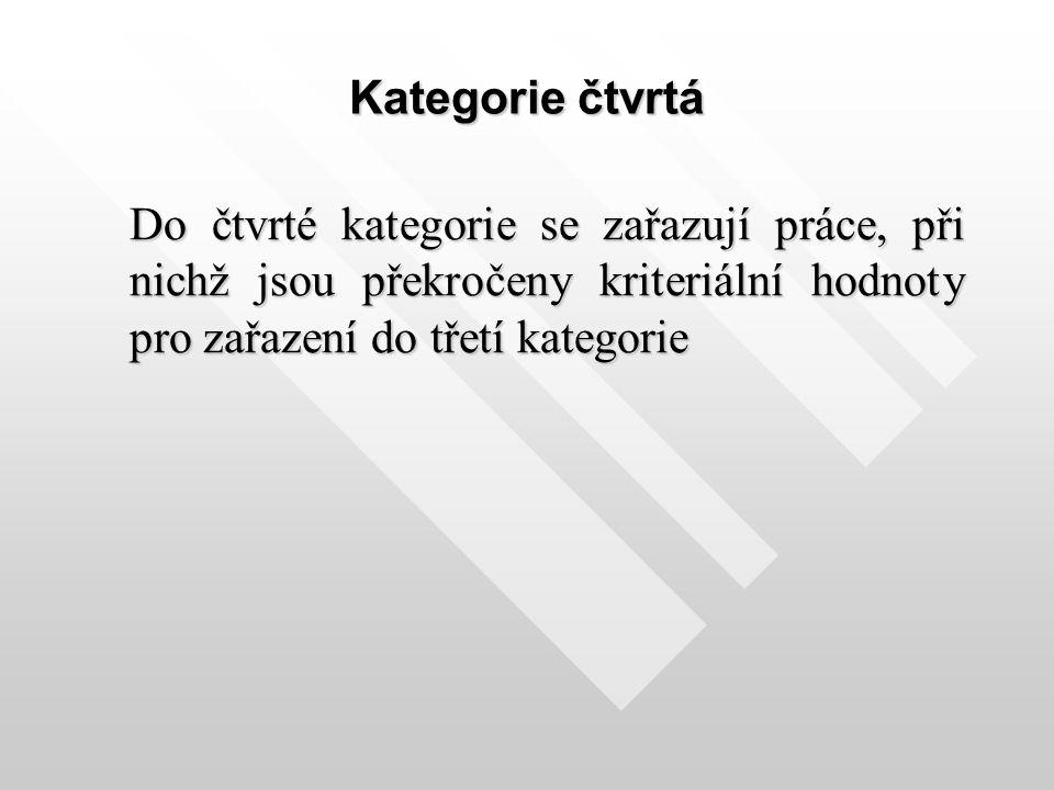 Kategorie čtvrtá Do čtvrté kategorie se zařazují práce, při nichž jsou překročeny kriteriální hodnoty pro zařazení do třetí kategorie Do čtvrté katego