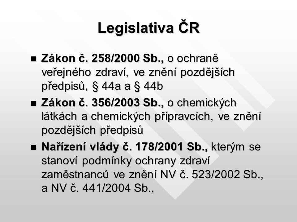 Legislativa ČR Zákon č. 258/2000 Sb., o ochraně veřejného zdraví, ve znění pozdějších předpisů, § 44a a § 44b Zákon č. 258/2000 Sb., o ochraně veřejné