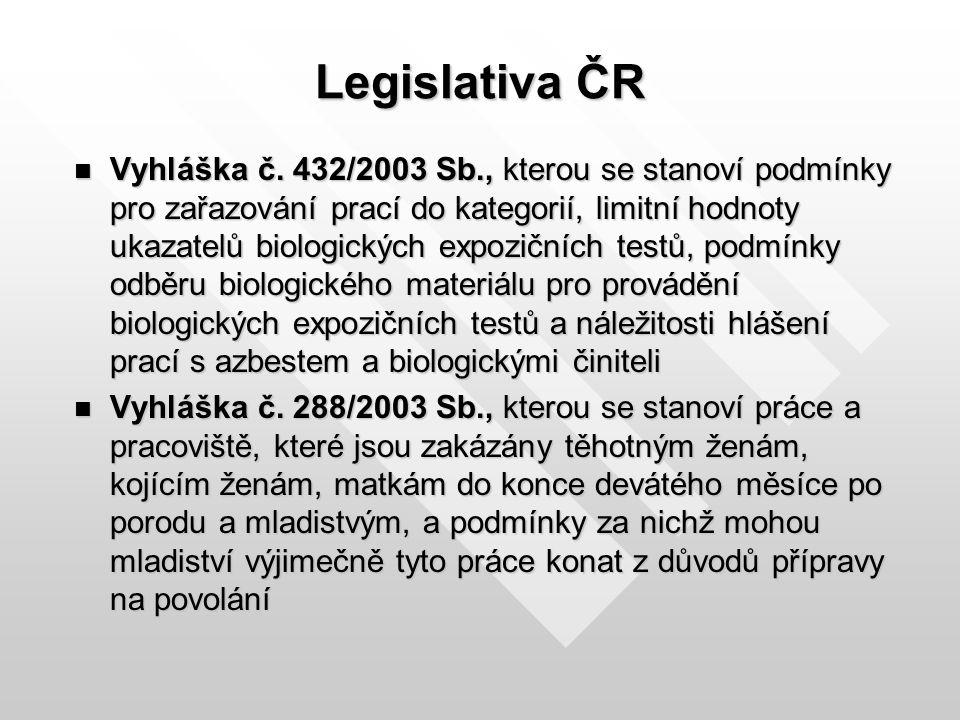 Legislativa ČR Vyhláška č. 432/2003 Sb., kterou se stanoví podmínky pro zařazování prací do kategorií, limitní hodnoty ukazatelů biologických expozičn