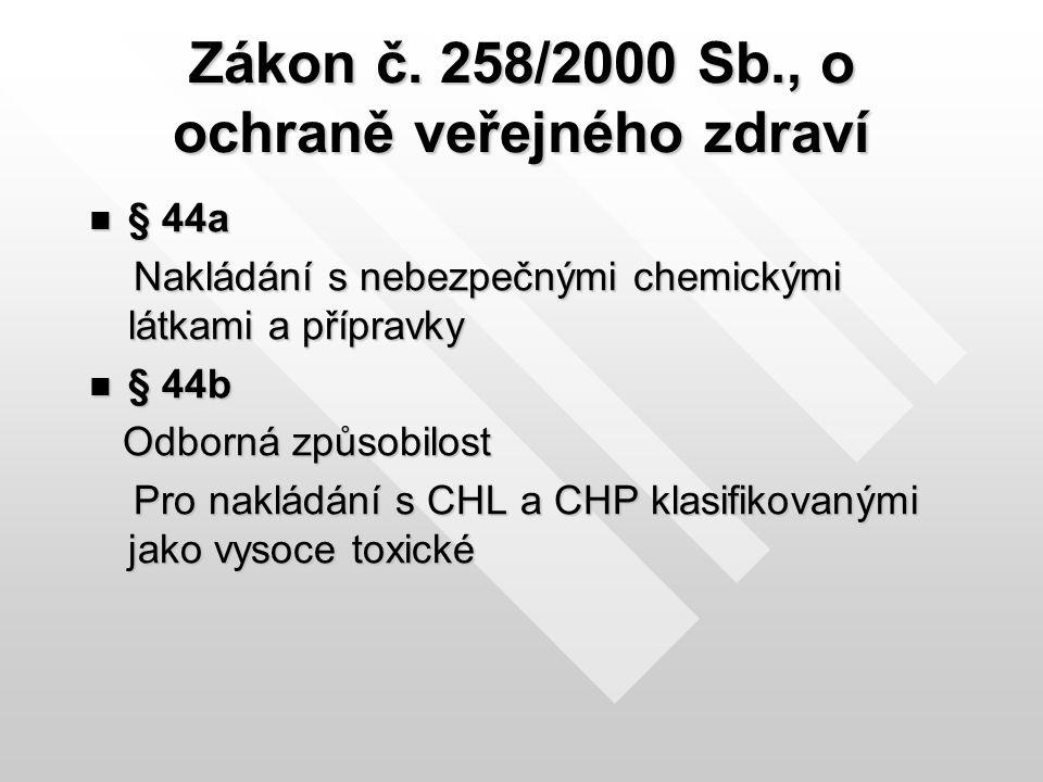 Zákon č. 258/2000 Sb., o ochraně veřejného zdraví § 44a § 44a Nakládání s nebezpečnými chemickými látkami a přípravky Nakládání s nebezpečnými chemick