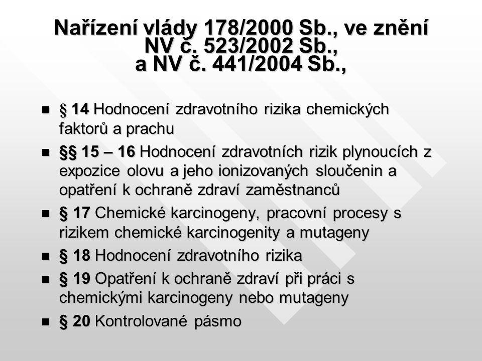 NV č.178/2000 Sb., ve znění NV č.523/2002 Sb., a NV č.