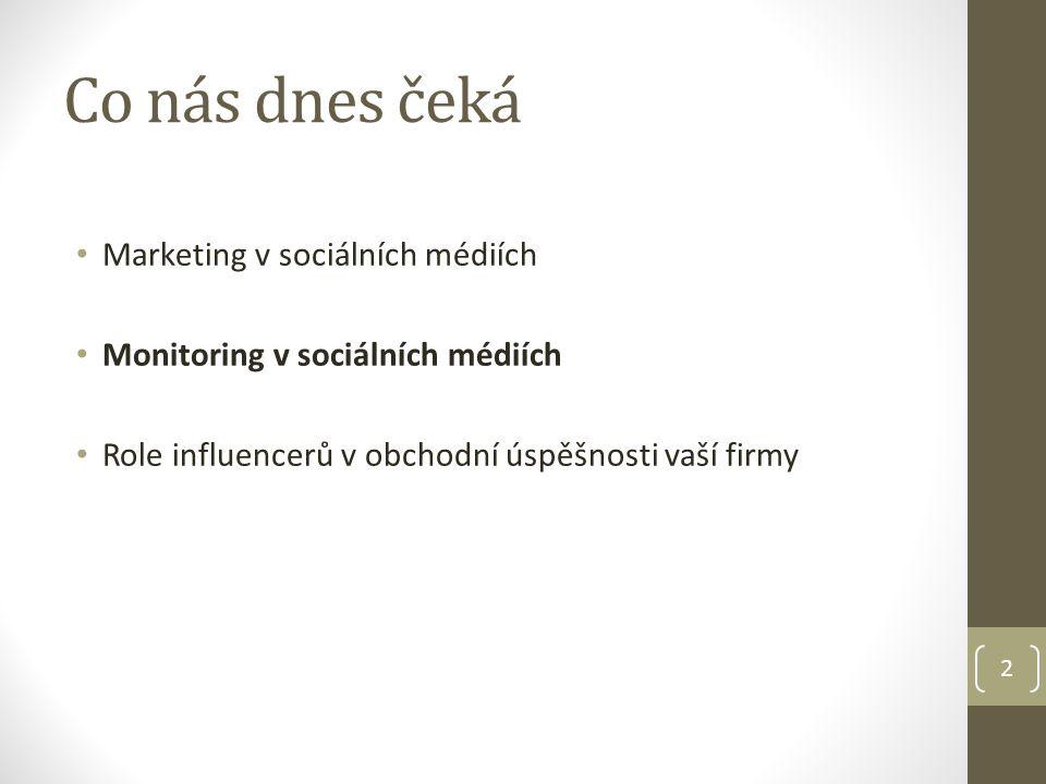 Co nás dnes čeká Marketing v sociálních médiích Monitoring v sociálních médiích Role influencerů v obchodní úspěšnosti vaší firmy 2