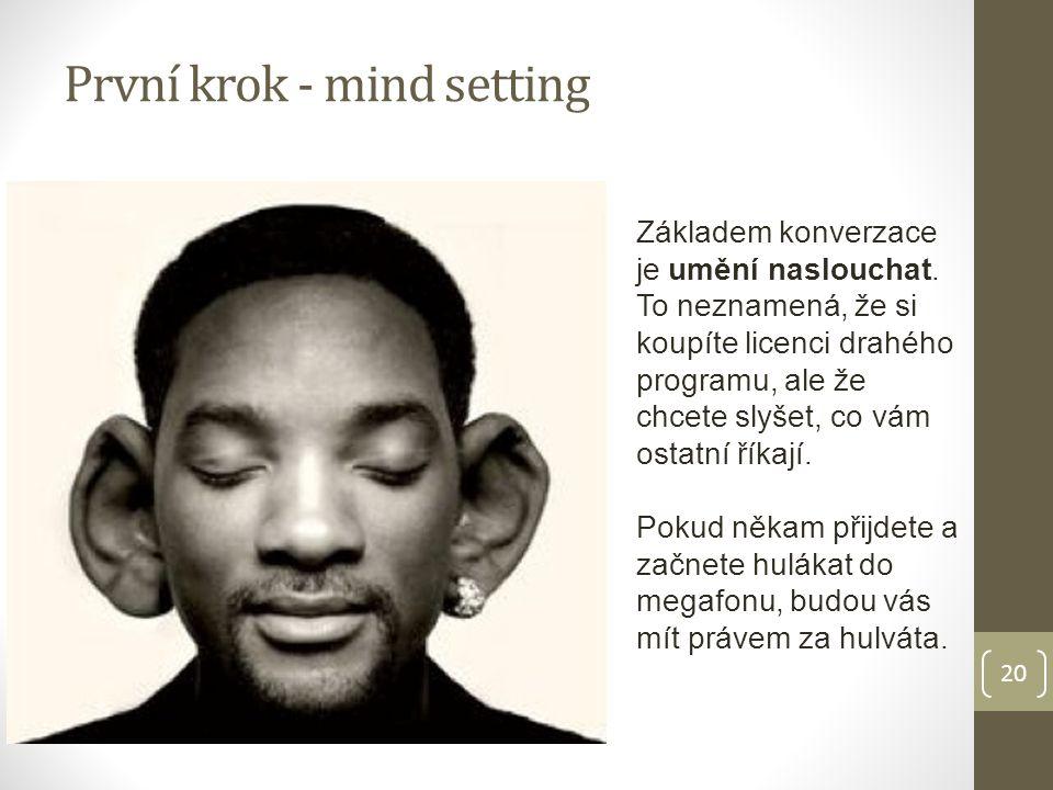 20 První krok - mind setting Základem konverzace je umění naslouchat.