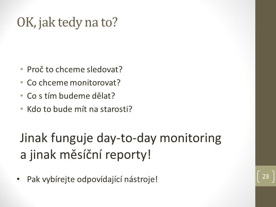 23 OK, jak tedy na to. Proč to chceme sledovat. Co chceme monitorovat.