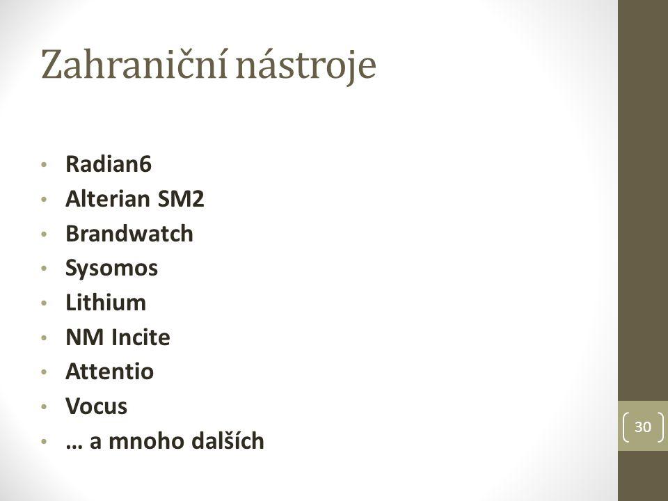 Zahraniční nástroje Radian6 Alterian SM2 Brandwatch Sysomos Lithium NM Incite Attentio Vocus … a mnoho dalších 30