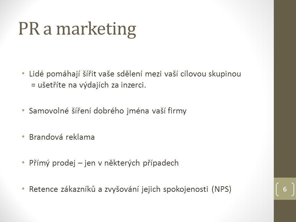 PR a marketing Lidé pomáhají šířit vaše sdělení mezi vaší cílovou skupinou = ušetříte na výdajích za inzerci.