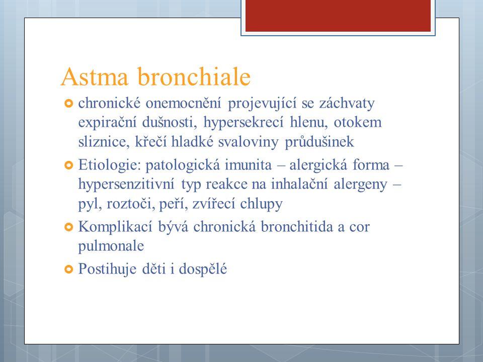 Astma bronchiale  chronické onemocnění projevující se záchvaty expirační dušnosti, hypersekrecí hlenu, otokem sliznice, křečí hladké svaloviny průduš