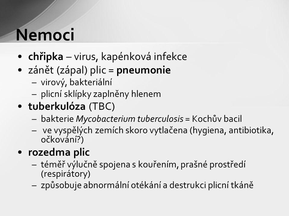 chřipka – virus, kapénková infekce zánět (zápal) plic = pneumonie –virový, bakteriální –plicní sklípky zaplněny hlenem tuberkulóza (TBC) –bakterie Mycobacterium tuberculosis = Kochův bacil – ve vyspělých zemích skoro vytlačena (hygiena, antibiotika, očkování?) rozedma plic –téměř výlučně spojena s kouřením, prašné prostředí (respirátory) –způsobuje abnormální otékání a destrukci plicní tkáně Nemoci