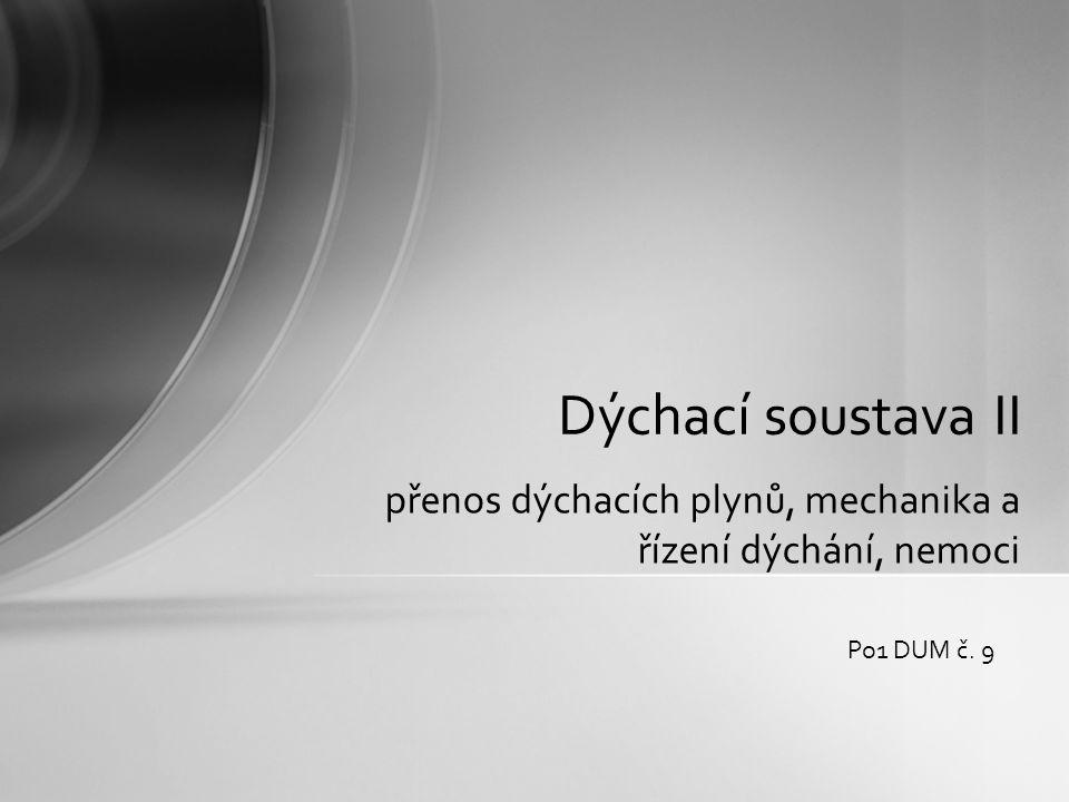 přenos dýchacích plynů, mechanika a řízení dýchání, nemoci Dýchací soustava II Po1 DUM č. 9