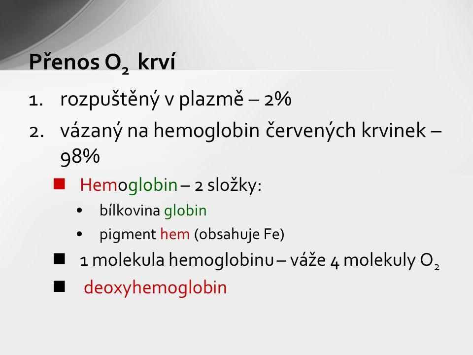 Přenos O 2 krví 1.rozpuštěný v plazmě – 2% 2.vázaný na hemoglobin červených krvinek – 98% Hemoglobin – 2 složky: bílkovina globin pigment hem (obsahuje Fe) 1 molekula hemoglobinu – váže 4 molekuly O 2 deoxyhemoglobin