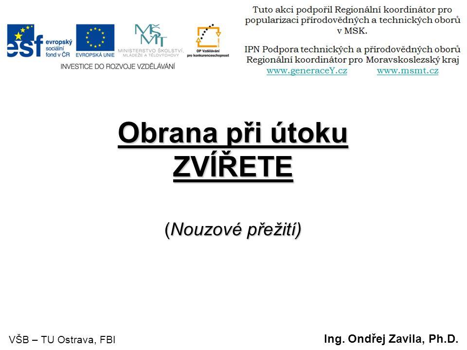 Obrana při útoku ZVÍŘETE (Nouzové přežití) Ing. Ondřej Zavila, Ph.D. VŠB – TU Ostrava, FBI